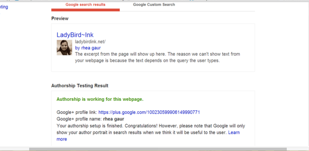 Use Google's Structured Data Testing Tool to confirm that your blog url is linked to your G+ page.